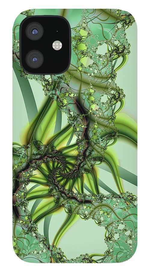 Fractal IPhone 12 Case featuring the digital art Green Vines by Frederic Durville
