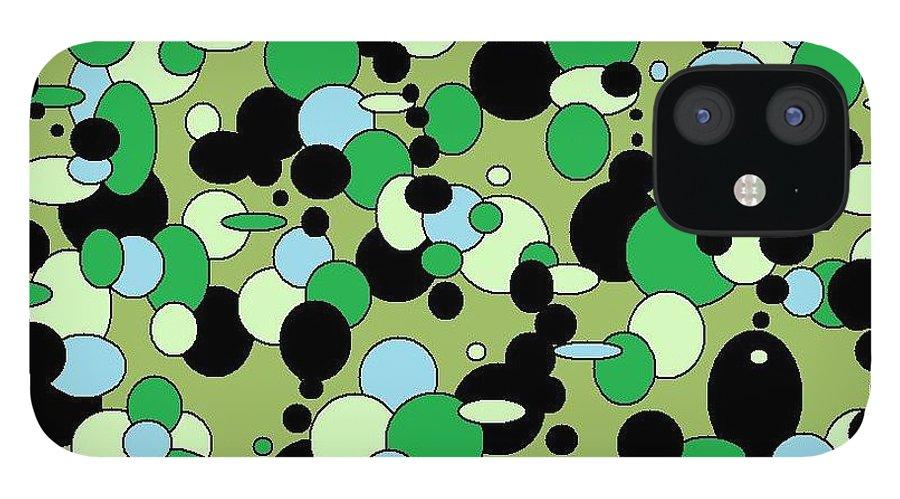 iPhone 12 Case featuring the digital art Greenies by Jordana Sands