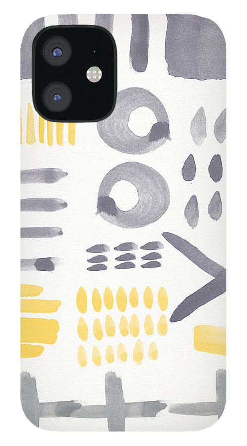 Grey And Yellow IPhone 12 Case featuring the painting Grey and Yellow Shapes- abstract painting by Linda Woods