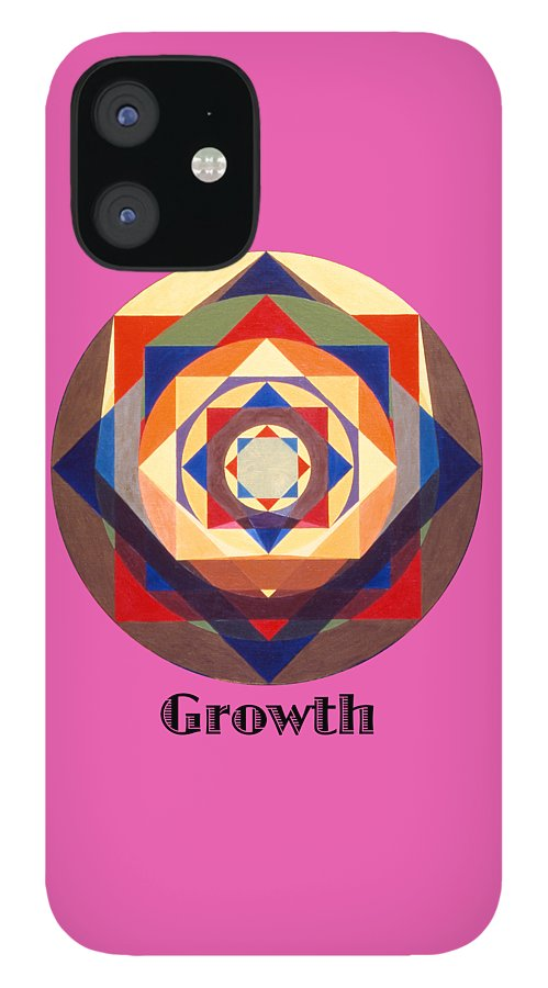 Painting IPhone 12 Case featuring the painting Growth text by Michael Bellon