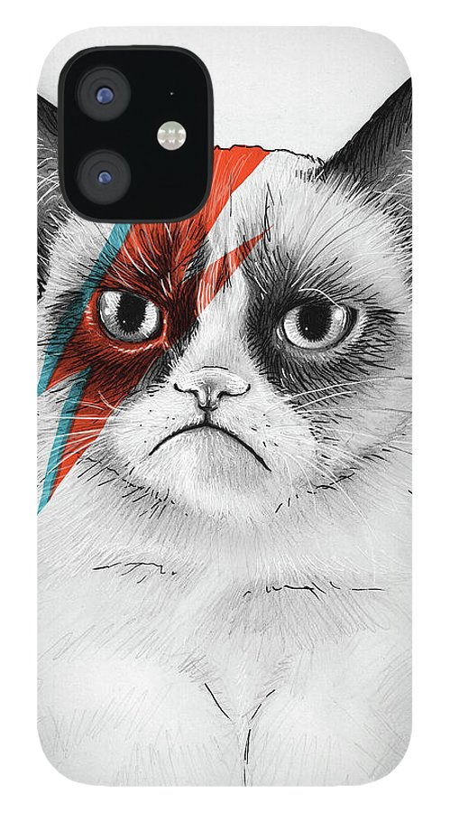 Grumpy Cat IPhone 12 Case featuring the drawing Grumpy Cat as David Bowie by Olga Shvartsur