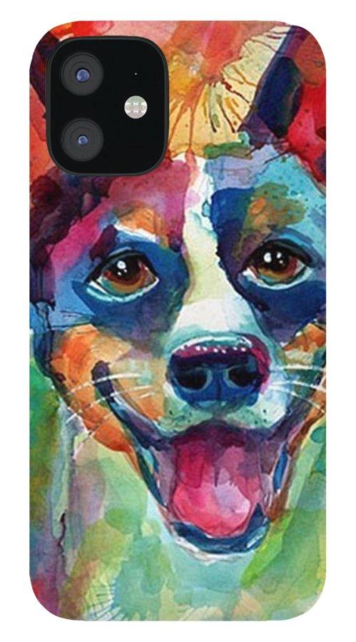 Custompetportrait IPhone 12 Case featuring the photograph Happy Rat Terrier Watercolor Portrait by Svetlana Novikova