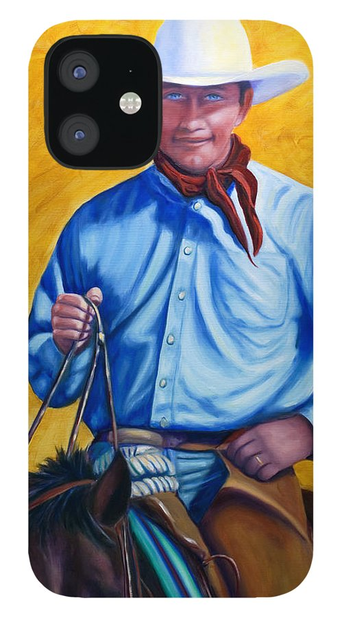 Cowboy IPhone 12 Case featuring the painting Happy Trails by Shannon Grissom