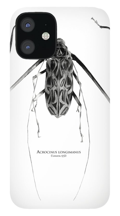 Black-and-white IPhone 12 Case featuring the digital art Acrocinus I by Geronimo Martin Alonso