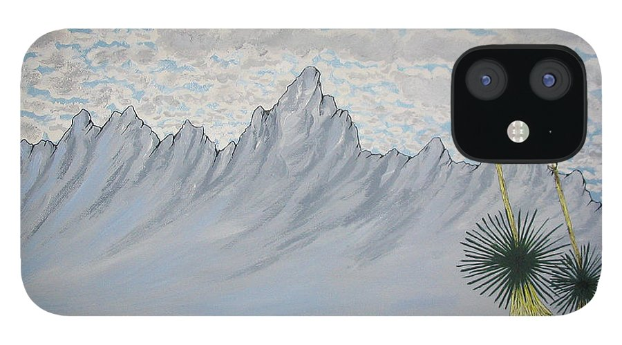 Desertscape IPhone 12 Case featuring the painting Hazy Desert Day by Marco Morales