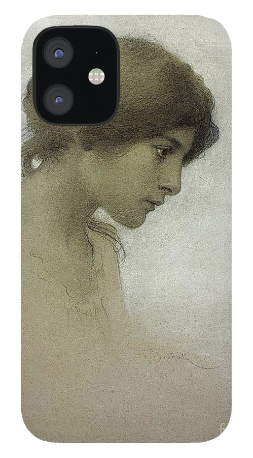 Head Of A Girl iPhone 12 Case featuring the drawing Head of a Girl by Franz Dvorak