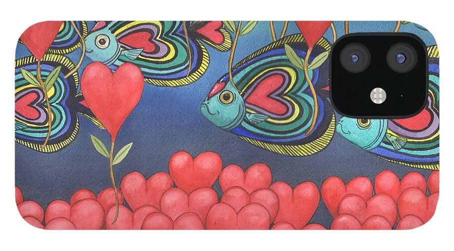 Valentine IPhone 12 Case featuring the painting Heart fish by Catherine G McElroy