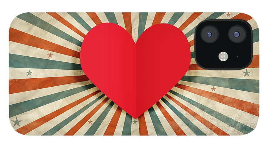 Antique IPhone 12 Case featuring the photograph Heart With Ray Background by Setsiri Silapasuwanchai