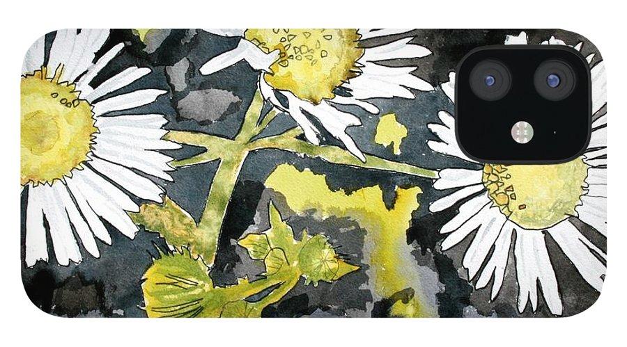 Wildflower IPhone 12 Case featuring the painting Heath Aster Flower Art Print by Derek Mccrea
