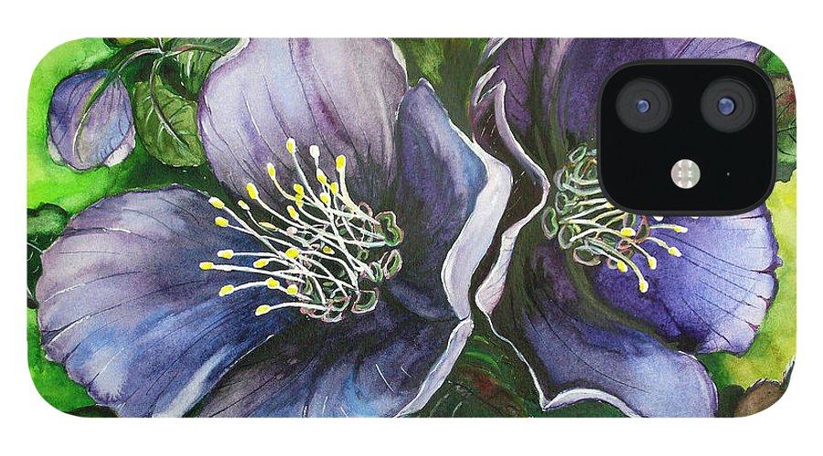Flower Painting Botanical Painting Original W/c Painting Helleborous Painting IPhone 12 Case featuring the painting Helleborous Blue Lady by Karin Dawn Kelshall- Best