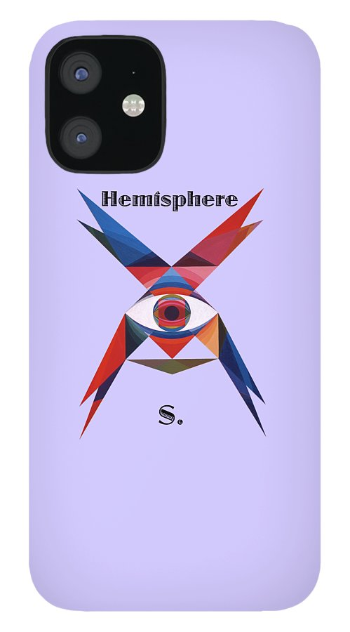 Painting IPhone 12 Case featuring the painting Hemisphere S. text by Michael Bellon