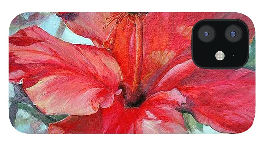 Floral Painting IPhone 12 Case featuring the painting Hibiscus rouge by Muriel Dolemieux
