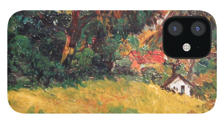 Tree IPhone 12 Case featuring the painting On the Hill by Meihua Lu