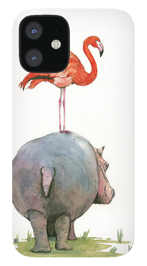 Hippo Art iPhone 12 Case featuring the painting Hippo with flamingo by Juan Bosco