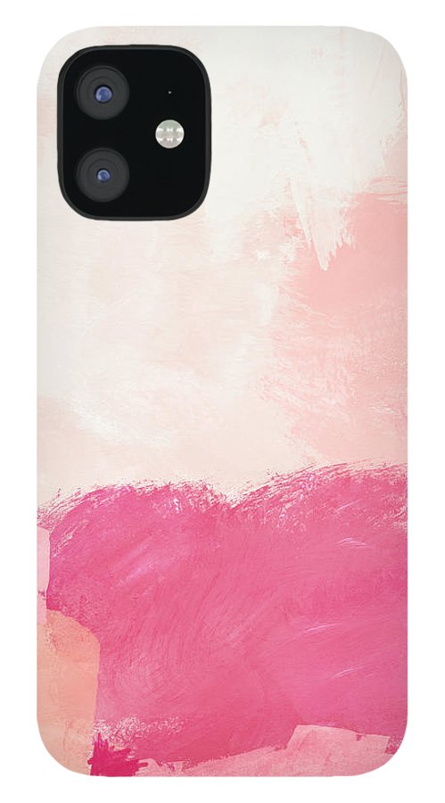 Abstract IPhone 12 Case featuring the mixed media History of Pink- Abstract Art by Linda Woods by Linda Woods