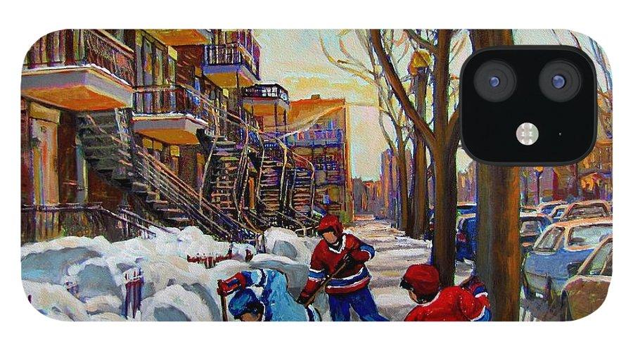 Hockey Canvas Prints IPhone 12 Case featuring the painting Hockey On De Bullion by Carole Spandau