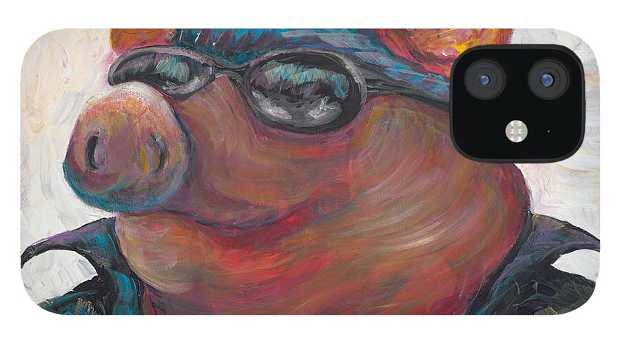 Hog iPhone 12 Case featuring the painting Hogley Davidson by Nadine Rippelmeyer