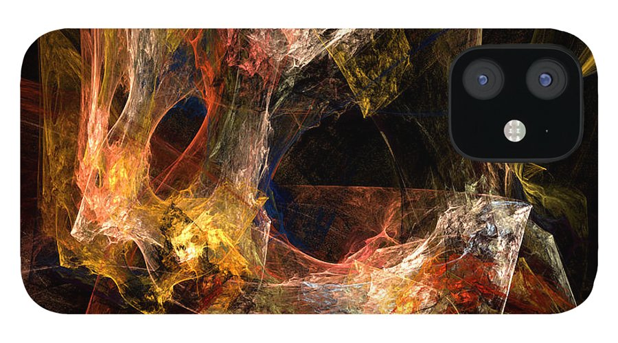 Abstract IPhone 12 Case featuring the digital art Holes by Ruth Palmer