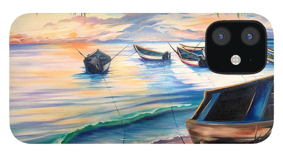 Ocean Painting Caribbean Painting Seascape Painting Beach Painting Fishing Boats Painting Sunset Painting Blue Palm Trees Fisherman Trinidad And Tobago Painting Tropical Painting IPhone 12 Case featuring the painting Home From The Sea by Karin Dawn Kelshall- Best