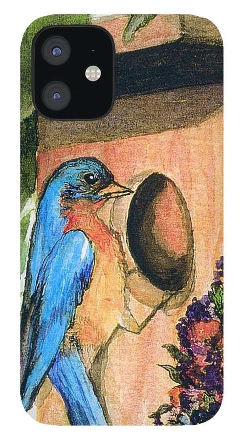 Bluebirds IPhone 12 Case featuring the painting Home Sweet Home by Gail Kirtz