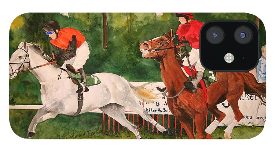Racing IPhone 12 Case featuring the painting Homestretch by Jean Blackmer