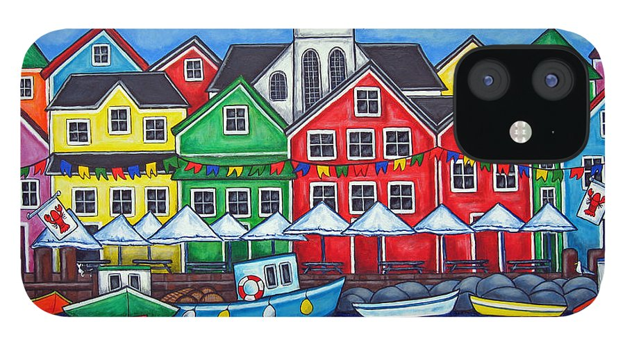 Boats Canada Colorful Docks Festival Fishing Flags Green Harbor Harbour IPhone 12 Case featuring the painting Hometown Festival by Lisa Lorenz