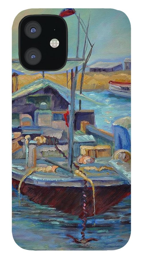 Hong Kong Harbor iPhone 12 Case featuring the painting Hong Kong Junque by Ginger Concepcion
