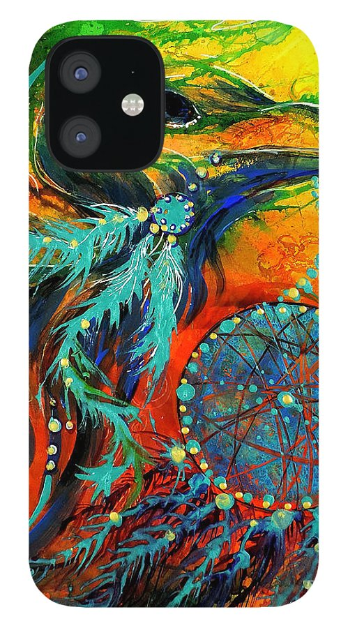 Mythical IPhone 12 Case featuring the painting Hope Rising by Francine Dufour Jones