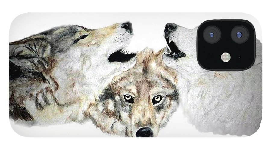Wolves IPhone 12 Case featuring the painting Howling by Debra Sandstrom