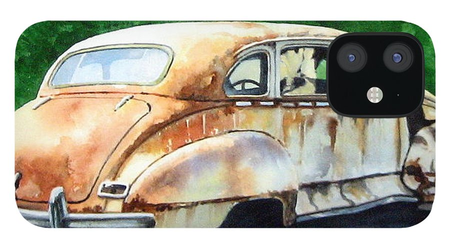Hudson Car Rust Restore IPhone 12 Case featuring the painting Hudson Waiting For a New Start by Ron Morrison