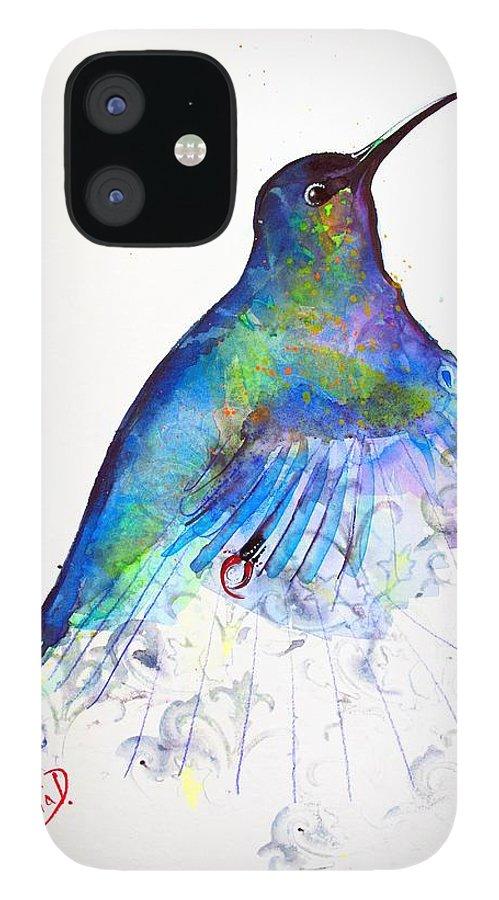 Hummingbird IPhone 12 Case featuring the painting Hummingbird 11 by Violeta Damjanovic-Behrendt