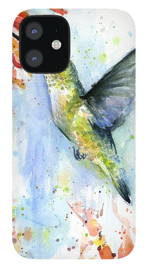 Watercolor IPhone 12 Case featuring the painting Hummingbird and Red Flower Watercolor by Olga Shvartsur
