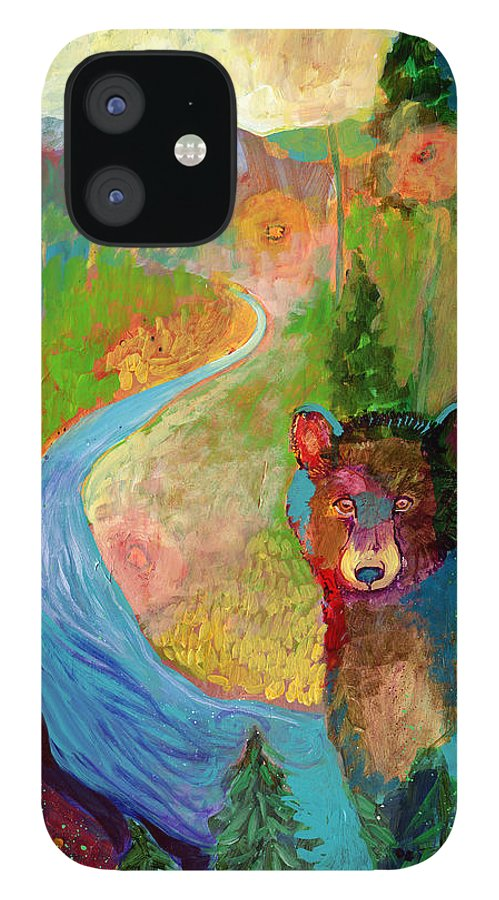 Bear iPhone 12 Case featuring the painting I Am The Mountain Stream by Jennifer Lommers