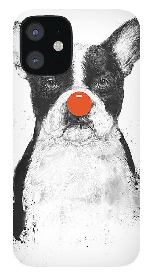 Dog IPhone 12 Case featuring the mixed media I'm not your clown by Balazs Solti