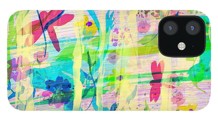 Abstract IPhone 12 Case featuring the digital art In the Garden by William Russell Nowicki
