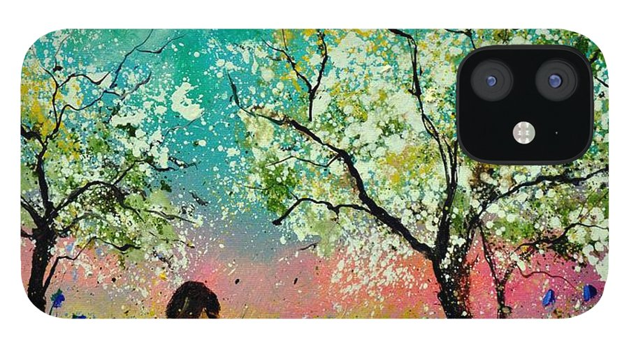Landscape IPhone 12 Case featuring the painting In the orchard by Pol Ledent