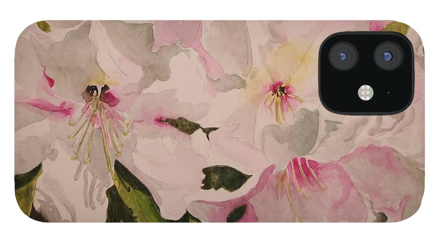 Pink IPhone 12 Case featuring the painting In The Pink by Jean Blackmer