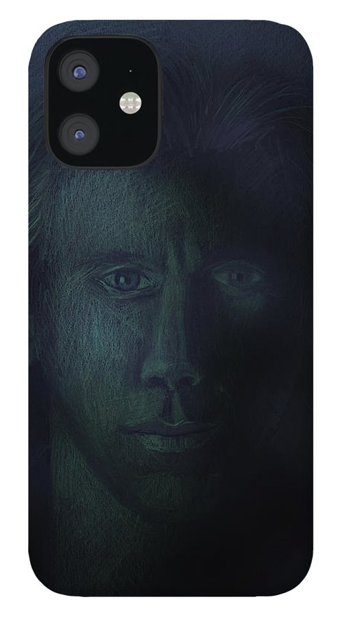 Dark IPhone 12 Case featuring the pastel In The Shadows Of Despair by Arline Wagner