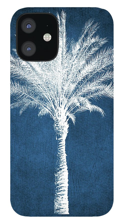 Palm Tree IPhone 12 Case featuring the mixed media Indigo and White Palm Tree- Art by Linda Woods by Linda Woods