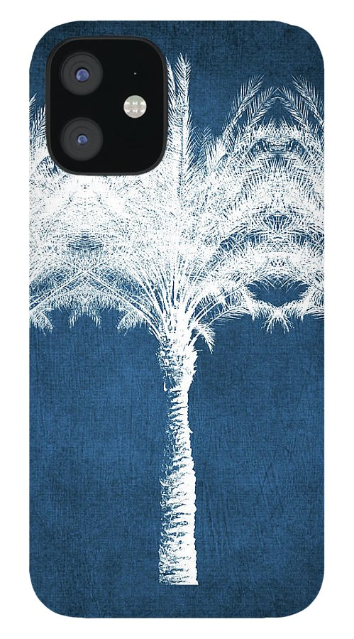 Palm Tree IPhone 12 Case featuring the mixed media Indigo And White Palm Trees- Art by Linda Woods by Linda Woods