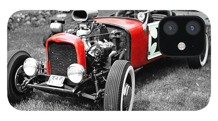 Intense Classic Vintage Red Symbol Life Photograph Auto Automobile black & White Edit Color IPhone 12 Case featuring the photograph Intense. by Stevie Ellis