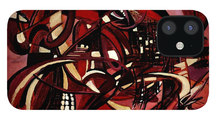 Abstract Design iPhone 12 Case featuring the painting Intimate Still Life with Incidental Intensity by Carmen Fine Art
