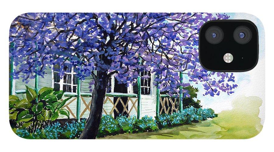Tree Painting Jacaranda Tree Painting Purple Painting Floral Painting Flower Painting Botanical Painting  House Painting Greeting Card Painting Blue Painting IPhone 12 Case featuring the painting Jacaranda by Karin Dawn Kelshall- Best