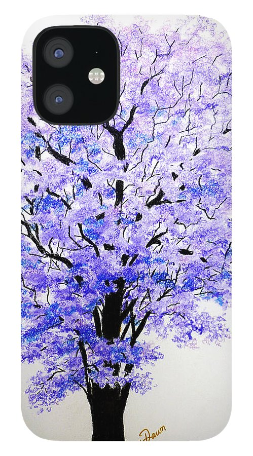 Jacaranda Tree IPhone 12 Case featuring the pastel Jacaranda Time by Karin Dawn Kelshall- Best