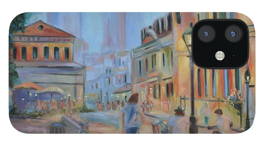 New Orleans IPhone 12 Case featuring the painting Jackson Square Musicians by Ginger Concepcion