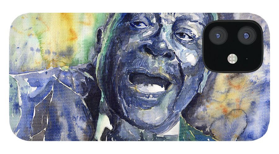 Jazz IPhone 12 Case featuring the painting Jazz B.B.King 04 Blue by Yuriy Shevchuk