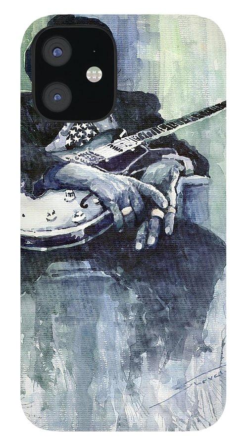 Jazz IPhone 12 Case featuring the painting Jazz Bluesman John Lee Hooker 04 by Yuriy Shevchuk