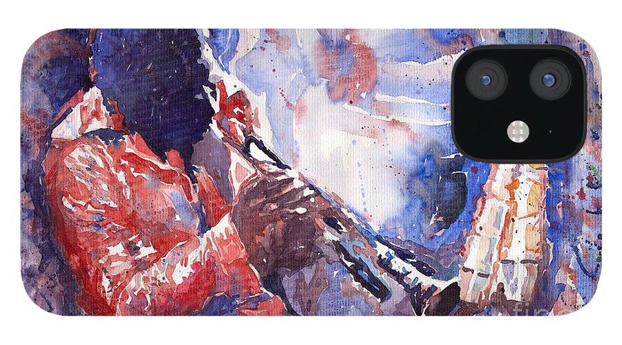 Jazz IPhone 12 Case featuring the painting Jazz Miles Davis 15 by Yuriy Shevchuk