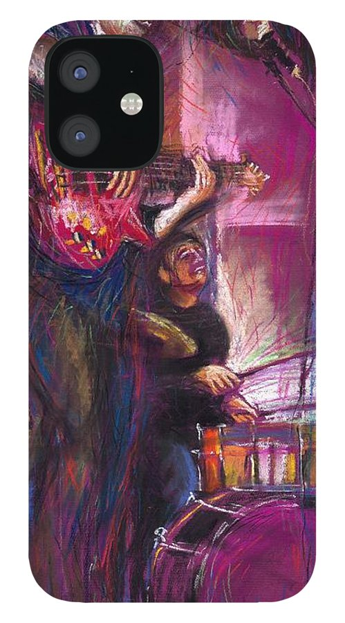 Jazz IPhone 12 Case featuring the painting Jazz Purple Duet by Yuriy Shevchuk