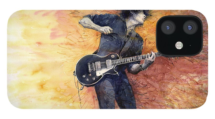 Figurativ IPhone 12 Case featuring the painting Jazz Rock Guitarist Stone Temple Pilots by Yuriy Shevchuk